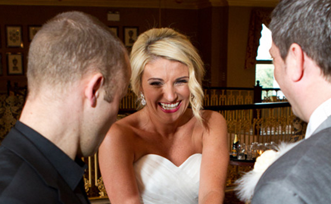 Performing Close up Magic for bride